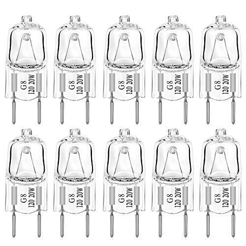 G8 Light Bulbs 20Watt 120Volt Halogen Light Bulb G8 Base Bi-Pin Shorter 20W T4 JCD Warm White Under Cabinet Puck Lighting Replacements,10Pack