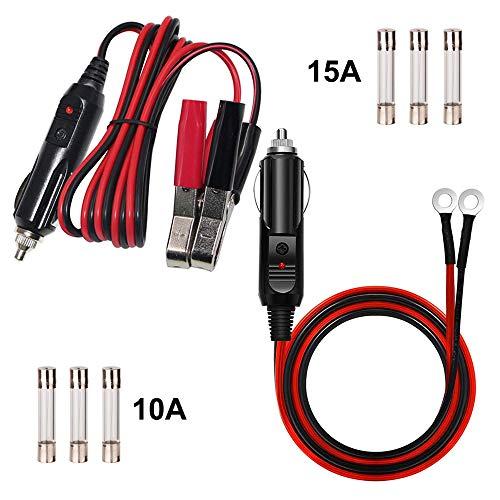 GTIWUNG Pinza de cocodrilo para encendedor de cigarrillos, Cable Conector Macho para Mechero de Coche de 12 V-24 V a Cable de Conexión para Terminales de Ojal, 16AWG Macho Enchufe Mechero Adaptador