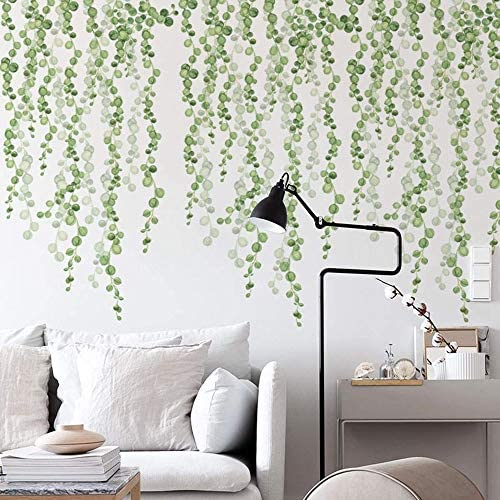 ROFARSO Hanging String of Pearls Vine Leaves Green Plants Wall Stickers Removable PVC Wall Decals product image