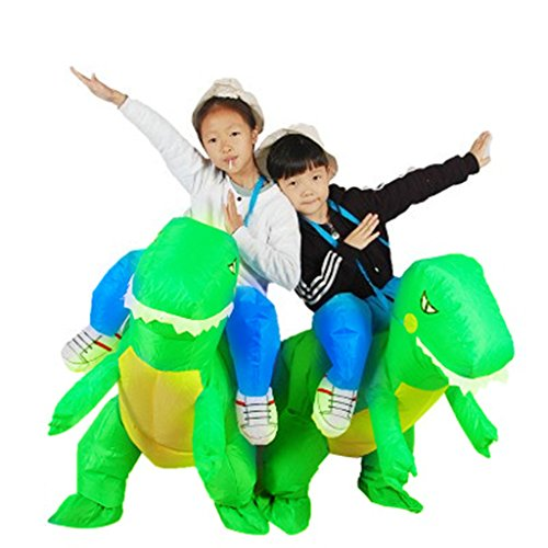 Halloween Inflatable Ride Dinosaur T-Rex Role Play Fancy Costume 3-6 Years Green
