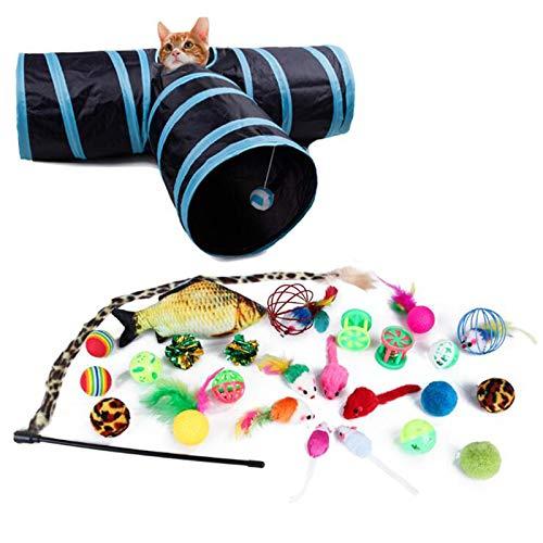 Casinlog 27 Stück Katzen Federspielzeug Kätzchen interaktives Haustierspielzeug Sortiment (3 Löcher Tunnel) Feder Zauberstab Spaß Ball Kauen Stick
