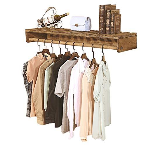 Cdbl-ijzeren kleding rekken wijnlesemassief houten kledingstand wandplanken kledingstandaard ophangsysteem boekenplank 5 maten (grootte: 80 × 30 cm) kledinghaken