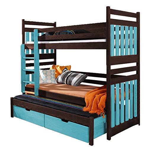 Triple Bunk Bed SAMBA Modern Trundle High Sleeper Mattress Drawers Ladder 3 Children Pine Wood (Left Hand Side, Shorter Size)