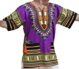 RaanPahMuang Unisex African Bright Dashiki Cotton Shirt Variety Colors, XX-Large, Purple