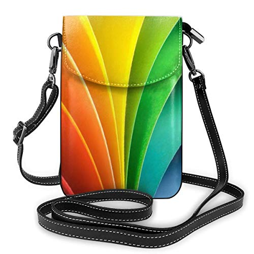 Lawenp Small Crossbody Bags Cell Phone Purse Wallet for Women PU Leather Blocking Crossbody Phone Bag Roomy Pockets Series for Women Small Cellphone Wallet Purse Pouch Abstract Rainbow Background w