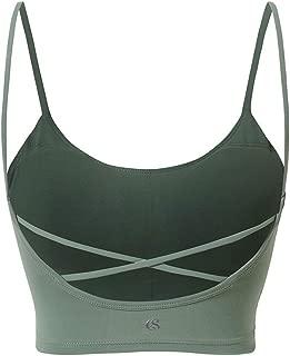 SYLOZ Vest Sports Bra, Thin Shoulder Strap Yoga Sports Underwear for Fitness Running Yoga Dance (Color : Green, Size : XS)