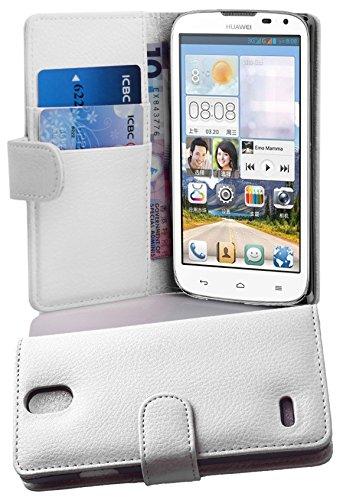 Cadorabo Hülle für Huawei Ascend G610 - Hülle in Magnesium WEIß – Handyhülle mit Kartenfach aus struktriertem Kunstleder - Hülle Cover Schutzhülle Etui Tasche Book Klapp Style