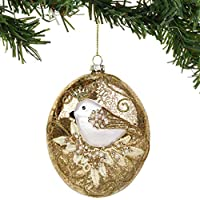 Department 56 Magnolia Garden Bird with Pearls Oval Hanging Ornament