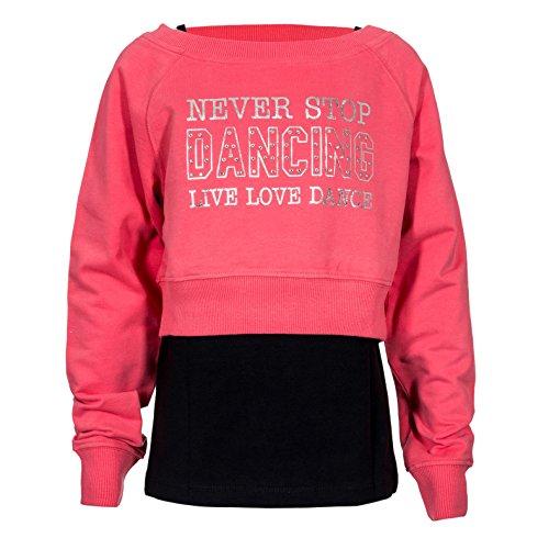 Brody & Co. Meisjes Dans Sweatshirts Vesten Dubbele Laag Tops Diamante Liefde om te Dans Zilver Sparkle Logo Gym Workout Speel