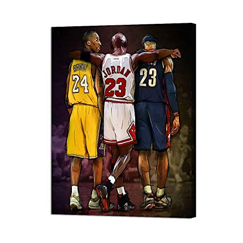 """Basketball Fan Memorabilia Gifts NBA Legends Michael Jordan & Kobe Bryant & Lebron James Inspirational Wall Art Posters Prints on Canvas Stretched and Framed Modern Home Decoration(18""""Wx 24""""H)"""