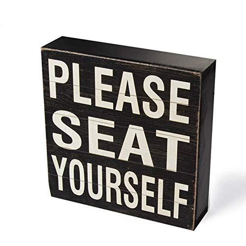 """Yankario Farmhouse Funny Bathroom Signs Decor, Classic Wooden Box Sign 6"""" Square, Black/White Please Seat Yourself"""