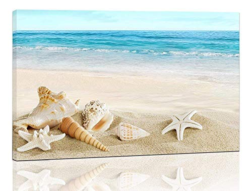 Purple Verbena Art Modern Seashell One Panel Seascape Giclee Pictures Photo Canvas Prints on Modern Stretched and Framed Canvas Wall Art Sea Beach Pictures Artwork for Home Decor Wall Art, 10x14 Inch