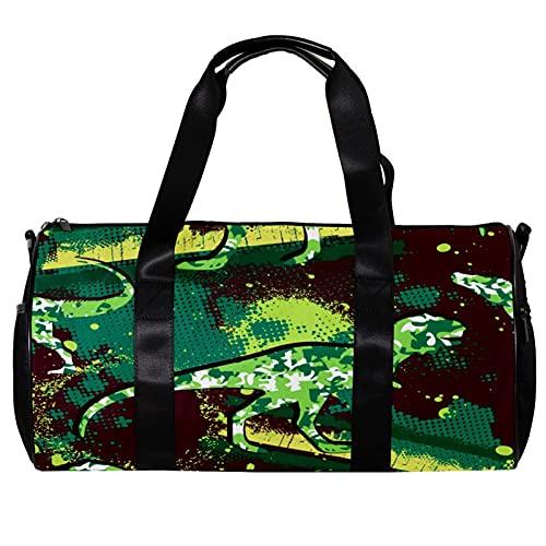 Borsone per le Donne Uomini Camouflage Verde Dinosauro Sport Palestra Tote Bag Weekend Pernottamento Borsa Da Viaggio All'aperto Bagagli