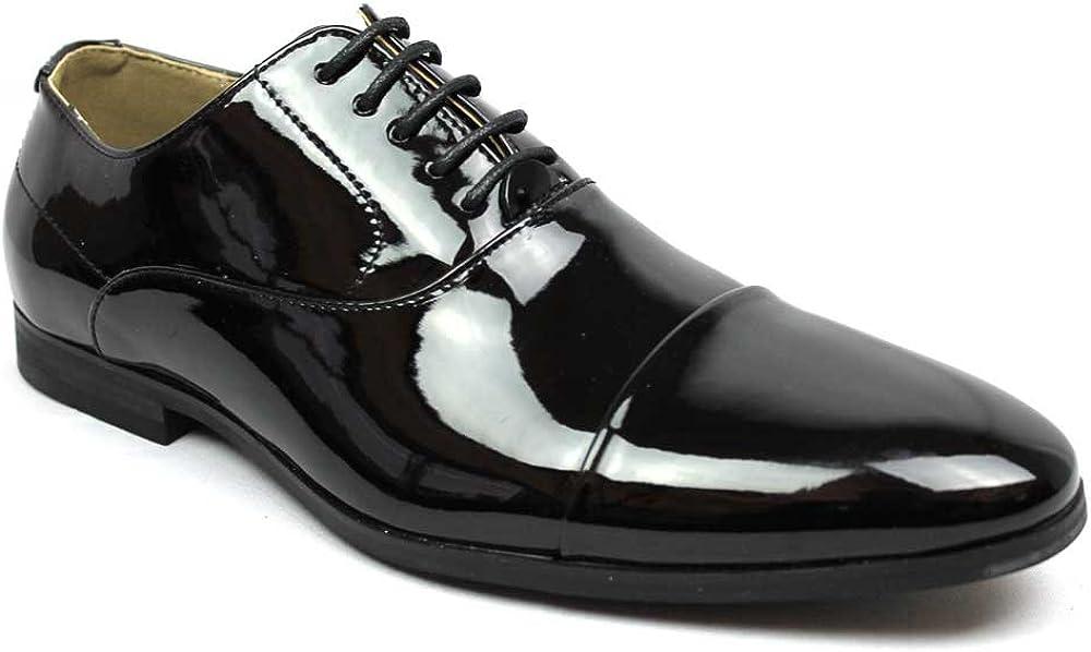 Men's Cap Toe Dress Patent Black Lace up Oxfords Tuxedo Shoes by Azar
