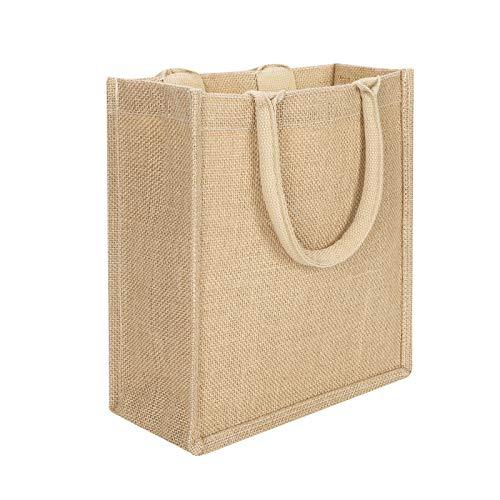 Bolsa de tela de yute natural con asas, reutilizable, bolsa de mano de la compra, bolsa de regalo, bolsa de almacenamiento, bolsa de almacenamiento bolsa de suministros