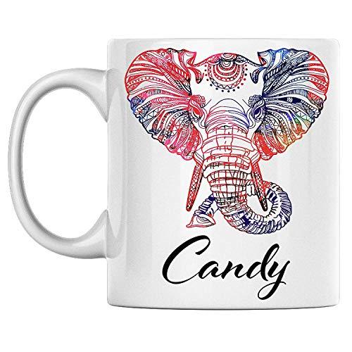 N\A Taza de Elefante Personal con Nombre Candy White Taza de café de cerámica Impresa en Ambos Lados cumpleaños para él, Ella, niño, niña, Esposo, Esposa, Hombres y Mujeres