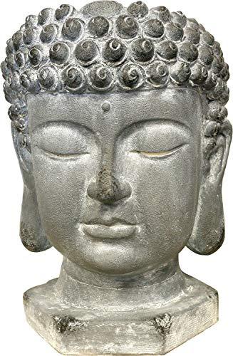 XXL Pflanztopf Büste Buddha, Kunststein, grau, 50 cm, Blumentopf Statue Antik Design Budda