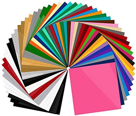 55 Pack Premium Permanent Self Adhesive Vinyl Sheets Assorted Colors Glossy Matte Brushed for product image