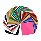 55 Pack Premium Permanent Self Adhesive Vinyl Sheets-Assorted Colors (Glossy, Matte, Brushed) for Other Cutters & Decals 12x12