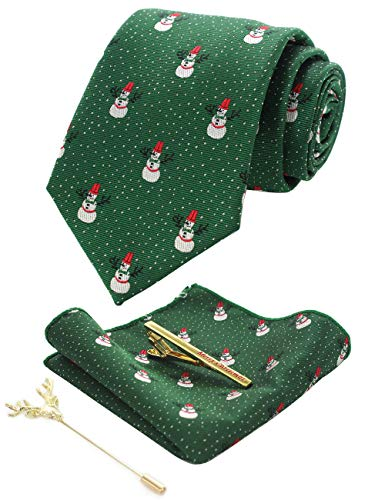 JEMYGINS Green Festival Snowman Christmas Tie and...