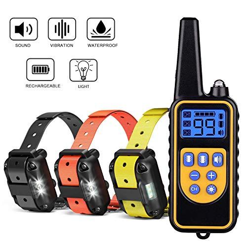 Havenfly Collar de Adiestramientopara Perros sin Descarga Eléctrica, Collar de Entrenamiento para Perros con Función de Vibración y Sonido, Impermeable y Recargable