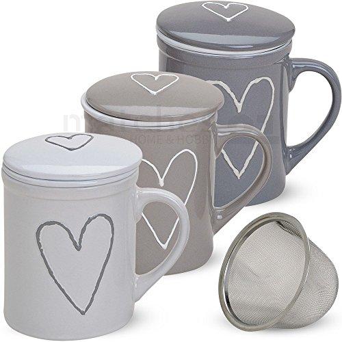 matches21 Teetassen Teebecher weiß/beige/grau sort. 3 Stk. mit Deckel & Teesieb aus Porzellan 10 cm / 300 ml