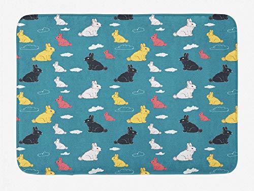Alfombrilla de baño de conejo, dibujos animados dibujados infantiles, diseño lúdico de animales y nubes, felpa, decoración de baño con parte trasera antideslizante, azul marino, 15.7 × 23.6 pu