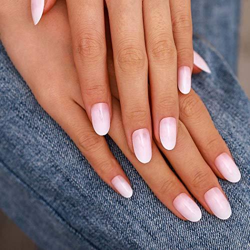 Sethexy Lange Oval Falsche Fingernägel Weiß Rosa 24 Stk Vollständige Abdeckung Acryl Drücken Sie auf Falsche Nagelspitzen zum Frauen und Mädchen
