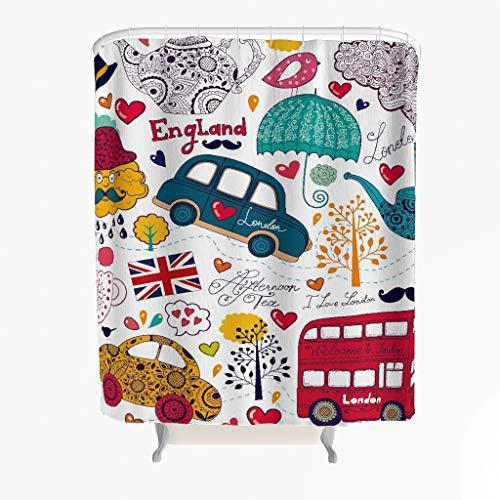 England London Duschvorhang Anti-Schimmel Antibakteriell Polyester Badewanne Vorhang mit Haken Weiß 150x200cm