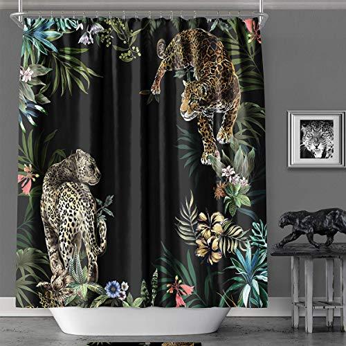 YAXIUFEN Duschvorhang, 20 Stile, 3D-Druck, Bedruckt, Polyester, wasserdicht, maschinenwaschbar, inklusive Haken, 180,9 x 182,9 cm Schwarz Leopard