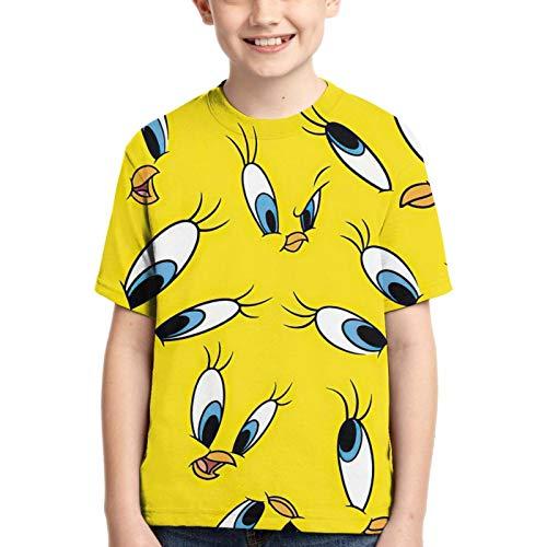 Twe^Ety Bi*Rd Camisa De Manga Corta con Cuello Redondo De para Ni?o Camiseta Casual para Ni?a