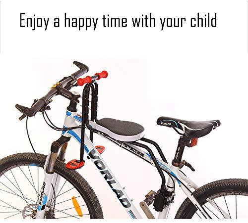 FEZBD Fahrradsattel, Kinderfahrradsitz Frontmontage Kinderfahrradsitz mit Griff abnehmbar,Black