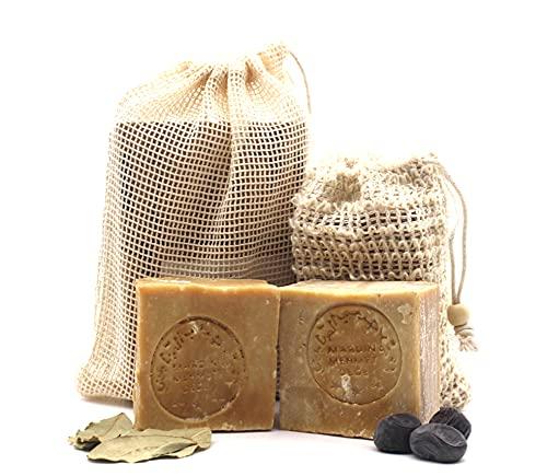 Original Aleppo Seifen Set, 2 x ca. 200g, 60% Olivenöl 40% Lorbeeröl Seife + Sisal Seifensäckchen + Reisebeutel, Handmade, Vegan, Naturprodukt, Haarseife, Duschseife, Original Rezeptur