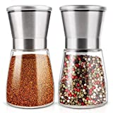 TAHMM Salinity and Pepper Shakers Set con soporte de acero inoxidable Salinity Pepper Mill Manual Spice Pepper Grinder Set (Color: 1)