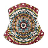 JS-BA Indian Mandala Vintage Decoration Red And Yellow Ski Cold Weather Covering Neck Warmer Fleece Hood Winter Hats