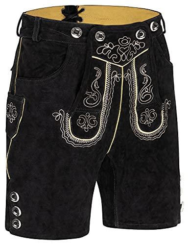 Herren Trachten Kurz Lederhose mit Träger antikbraun, (schwarz 50)