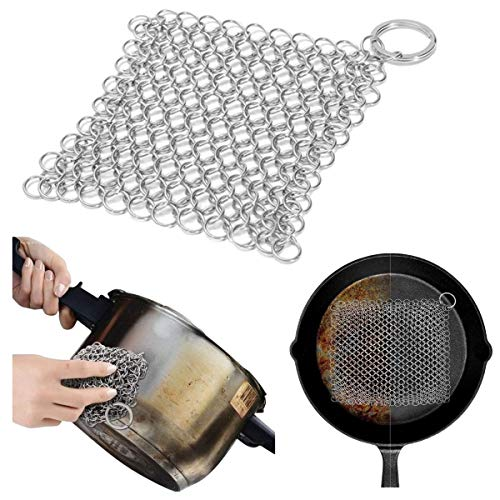 SANHAN Ring Stainless Steel Kitchen Cloth,8x6 inch Cast Iron Cleaner Stainless Steel Chainmail Scrubber for Lodge Cast Iron Skillet Griddle Grill Pan Cookware Pot
