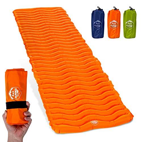 Air Mat+ Camping Sleeping Pad - Ultralight 17.2 OZ - Inflatable Sleeping Air Mattress for Backpacking, Hiking, Traveling – Lightweight & Compact Camp Sleep Pad (Orange)