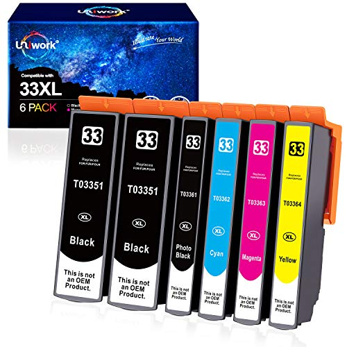 6 Patronen Uniwork 33XL Kompatibel Ersatz für Epson 33XL 33 Druckerpatronen für Epson Expression Premium XP-530 XP-540 XP-630 XP-635 XP-645 XP-640 XP-830 XP-900 XP-7100