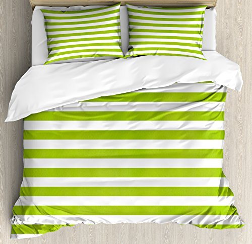 Ambesonne Lime Green Duvet Cover Set, Horizontal Stripes Simplistic Watercolor Paintbrush Large Lines Image, Decorative 3 Piece Bedding Set with 2 Pillow Shams, Queen Size, Lime Green