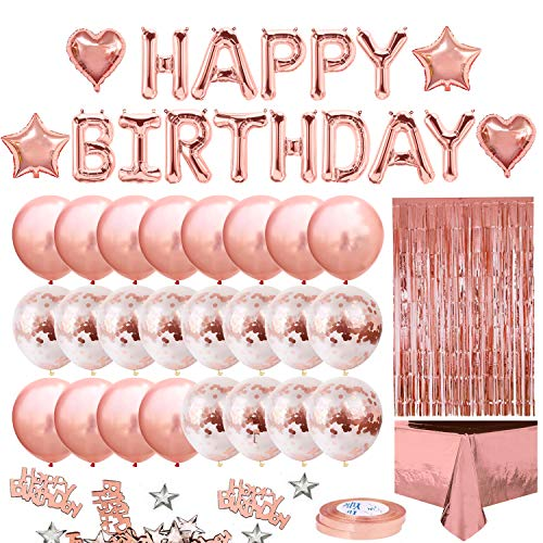 iZoeL Rose Gold Birthday Party Decoration for Girls Women Happy Birthday Banner, Rose Gold Fringe Curtain Foil Tablecloth, Heart Star Confetti Balloons and 10g Table Confetti