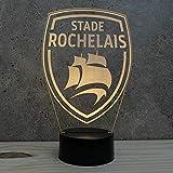 Lampe rugby La Rochelle 16 couleurs RGB & télécommande personnalisable illusion - Fabriquée en France - Lampe de table - Lampe veilleuse - Lampe d'ambiance