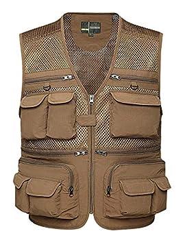 Lentta Mens Summer Outdoor Work Safari Fishing Travel Photo Cargo Vest Multi Pockets(Mesh Khaki-XXXL)