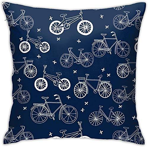 qidong Hand gezeichnete dunkelblaue Kinderfahrräder Fahrräder werfen Kissenbezüge, Sofakissen Plüsch Design Dekoration Home Bett Pilloase 18x18 Zoll