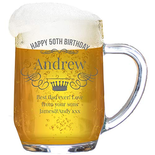 Personalised Birthday Tankard Glass Stein Engraved/Wreath and Crown/1 Pint/20 Ounces/Gift Box
