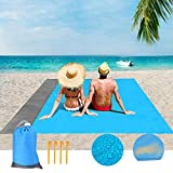 """Beach Blanket Sand Free Beach Mat Size 79"""" X 55"""" Sand Proof Beach Blanket Outdoor Picnic Mat for Travel, Camping, Hiking and Music Festivals-Lightweight Quick Drying Heat Resistant with Storage Bag"""