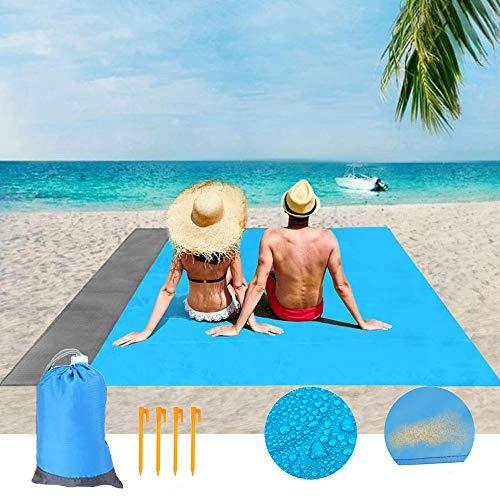 Beach Blanket Sand Free Beach Mat Size 79' X 55' Sand Proof Beach...