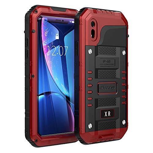 Beeasy Funda para iPhone XR Antigolpes,360°Protección Impermeable con Protector de Pantalla,Rígida Robusta Antigravedad Carcasa Resistente al Impacto Militar Duradera Blindada Fuerte Seguridad,Rojo