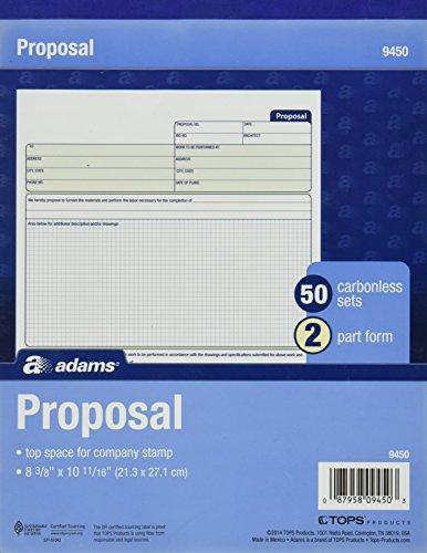 Adams Vorschlag Form buchen, 2-teilig, Selbstdurchschreibepapier, 10.19 x 8.38 Zoll, 50 Sätze, Weiß und Kanarischen (9450ABF)