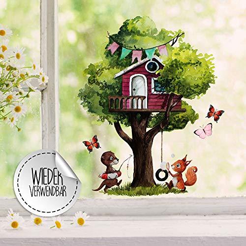 ilka parey wandtattoo-welt Fensterbild Baum Baumhaus Otter Eichhörnchen Schmetterlinge -wiederverwendbar- Fensterdeko Fensterbilder Frühling Deko Dekoration bf116